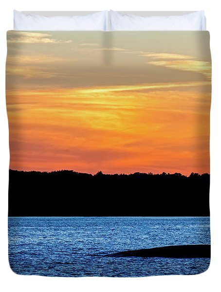 Sunset Fisherman  Duvet Cover