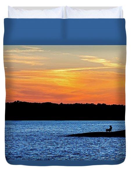 Sunset Fisherman  Duvet Cover