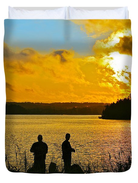 Sunset Fishermen Smith Mountain Lake Duvet Cover