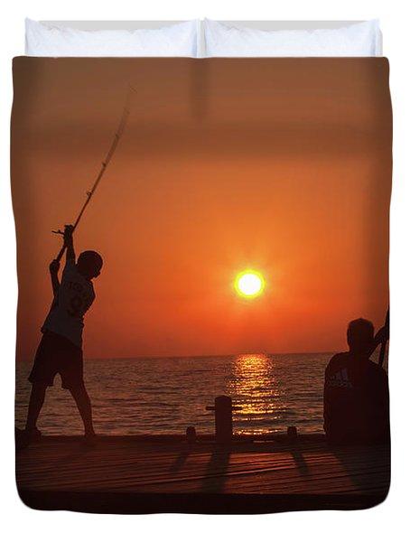 Sunset Fishermenr Duvet Cover