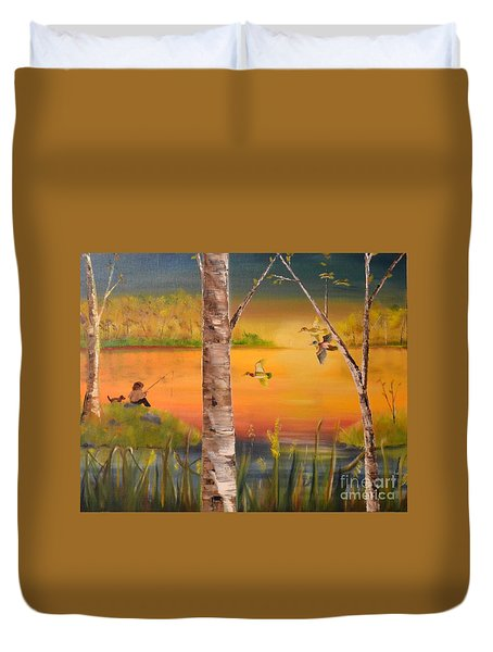 Sunset Fishing Duvet Cover