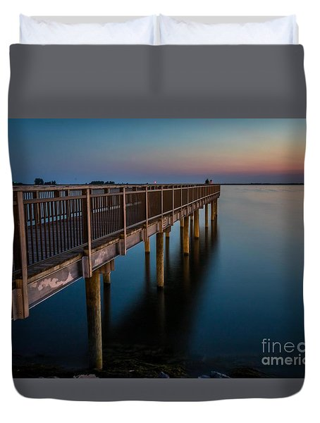 Sunset Fishing Pier Duvet Cover
