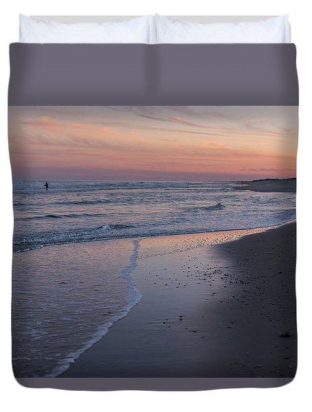 Sunset Fishing Seaside Park Nj Duvet Cover by Terry DeLuco