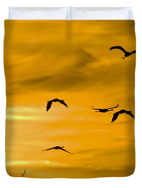 Duvet Cover featuring the photograph Sunset Fliers by Wanda Krack