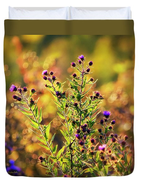 Duvet Cover featuring the photograph Sunset Flowers by Christina Rollo