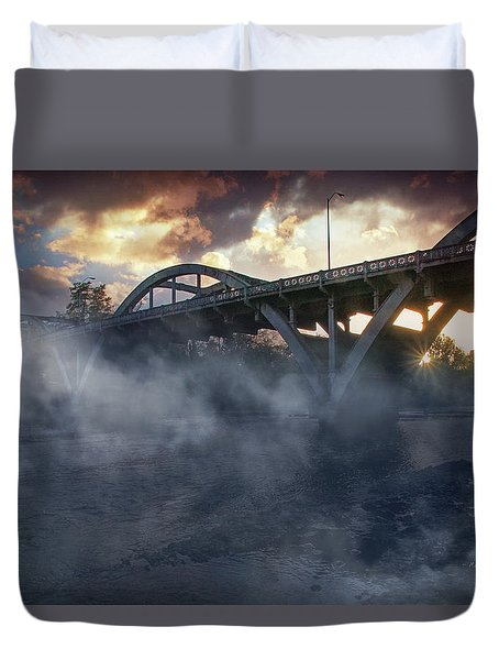 Sunset Fog At Caveman Bridge Duvet Cover by Mick Anderson