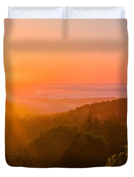 Sunset Fog Over The Pacific #1 Duvet Cover