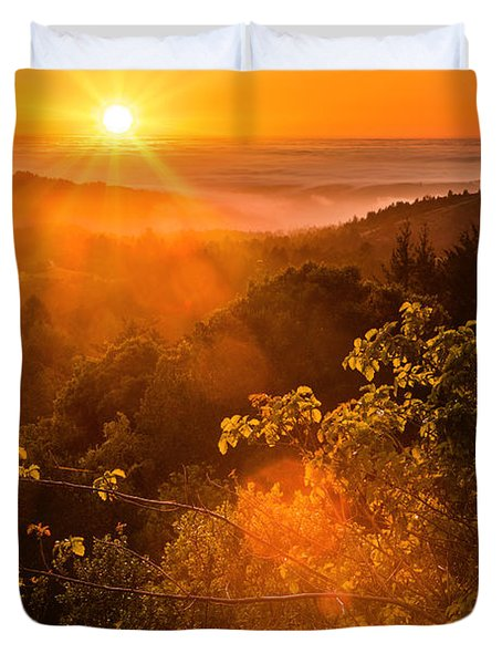 Sunset Fog Over The Pacific #2 Duvet Cover