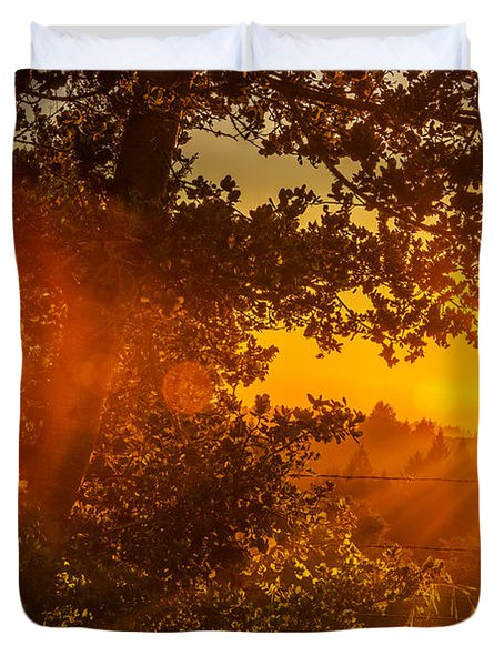 Sunset Fog Over The Pacific #3 Duvet Cover
