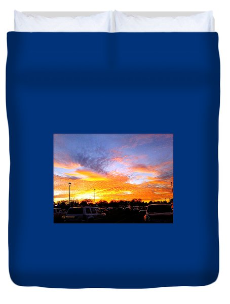 Duvet Cover featuring the pyrography Sunset Forecast by Elly Potamianos