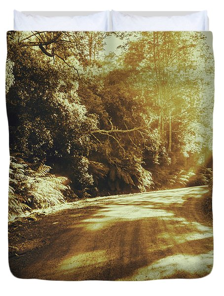 Sunset Forest Drive Duvet Cover
