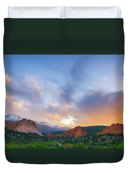Duvet Cover featuring the photograph Sunset Forever by Tim Reaves