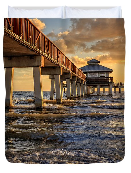 Duvet Cover featuring the photograph Sunset Fort Myers Beach Fishing Pier by Edward Fielding