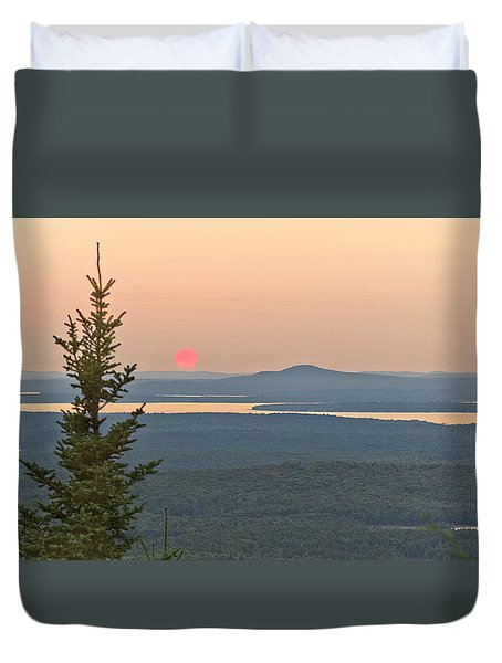 Sunset From Cadillac Mountain Duvet Cover