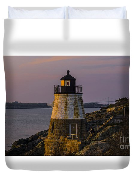 Sunset From Castle Hill Lighthouse. Duvet Cover