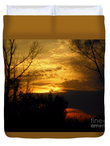 Sunset From Farm Duvet Cover