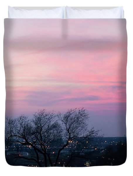 Sunset From Liberty Memorial Duvet Cover