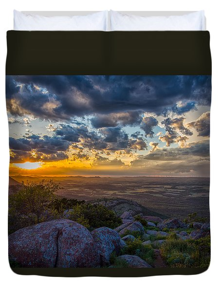 Duvet Cover featuring the photograph Sunset From The Heavens by James Menzies