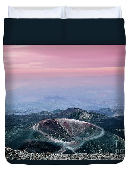 Sunset From The Top Of The Etna Duvet Cover
