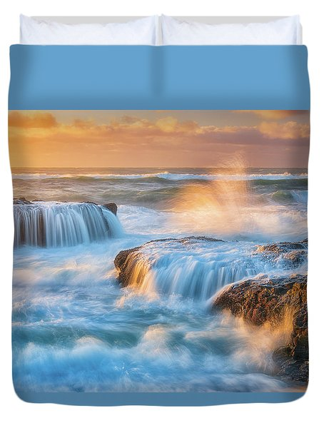 Duvet Cover featuring the photograph Sunset Fury by Darren White
