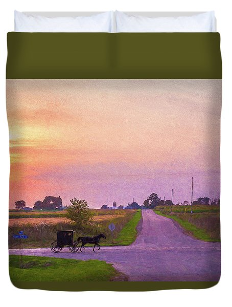 Duvet Cover featuring the photograph Sunset Gallop by Joel Witmeyer
