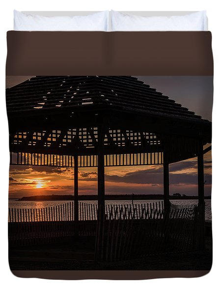 Duvet Cover featuring the photograph Sunset Gazebo Beach Haven Nj January 2017 by Terry DeLuco