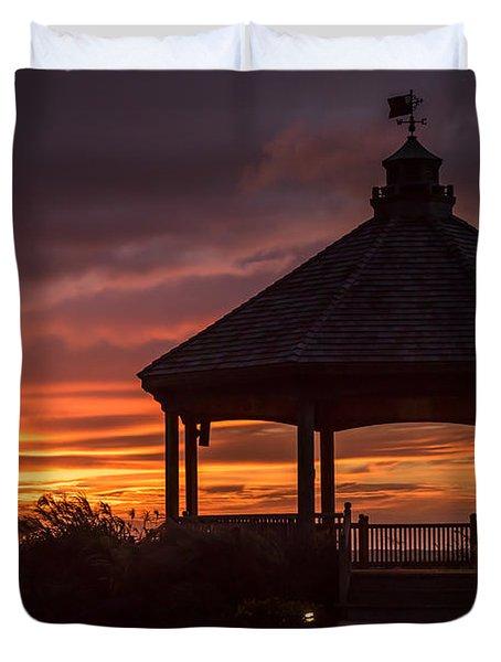 Sunset Gazebo Lavallette New Jersey Duvet Cover