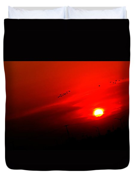 Sunset Geese Leaving Disappearing City - 0814  Duvet Cover