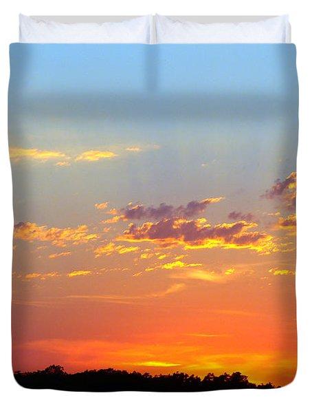 Sunset Glory Orange Blue Duvet Cover