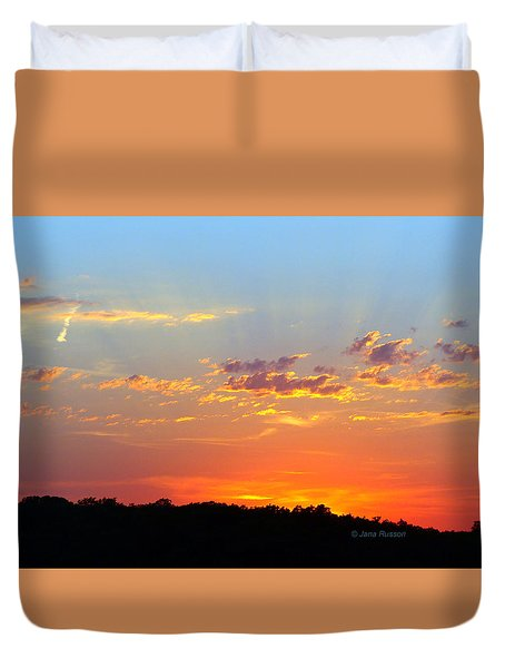 Duvet Cover featuring the digital art Sunset Glory Orange Blue by Jana Russon