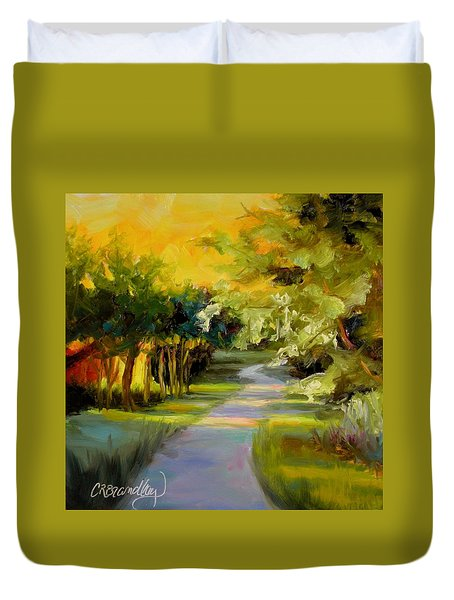 Duvet Cover featuring the painting Sunset Glow by Chris Brandley
