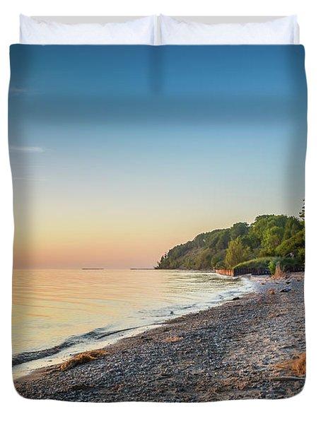 Sunset Glow Over Lake Duvet Cover