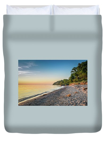 Sunset Glow Over Lake Duvet Cover