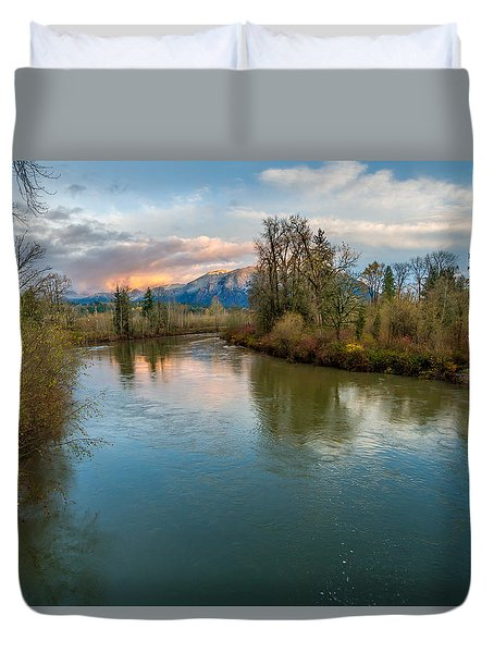 Sunset Glow Over The Snoqualmie River Duvet Cover
