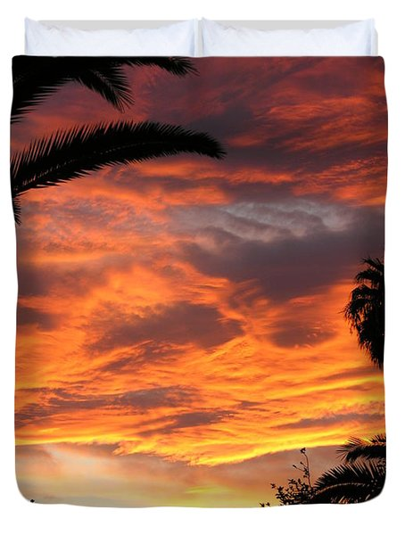 Sunset God's Fingers In Clouds  Duvet Cover by Diane Greco-Lesser