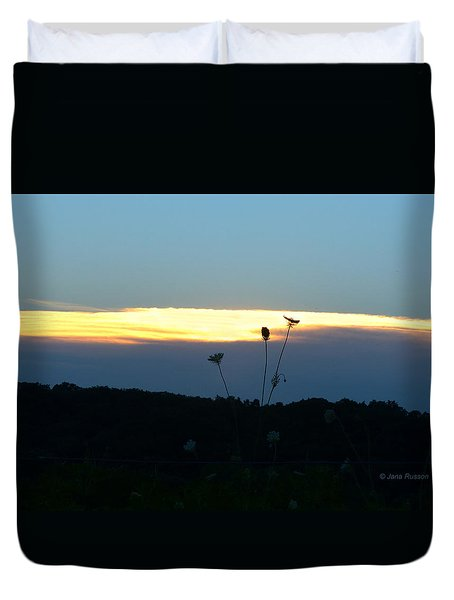 Duvet Cover featuring the digital art Sunset Gold Stripe Queen Anne by Jana Russon