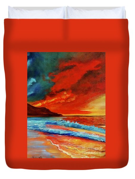 Sunset Hawaii Duvet Cover by Jenny Lee