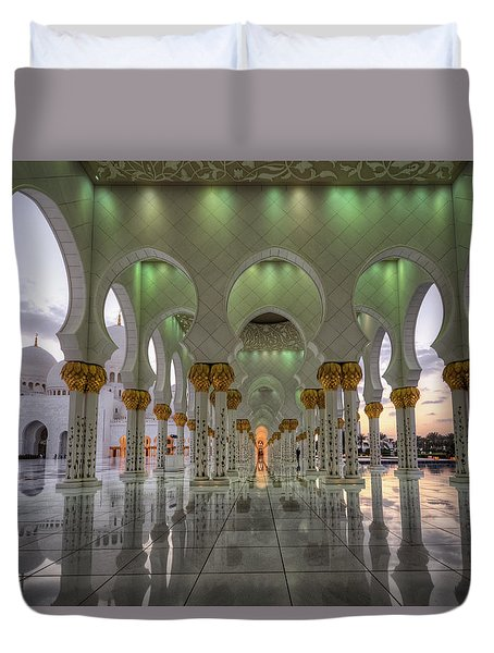 Duvet Cover featuring the photograph Sunset Hindu Temple by John Swartz