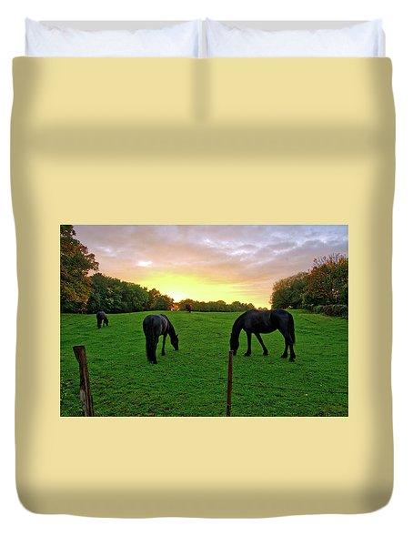 Sunset Horses Duvet Cover