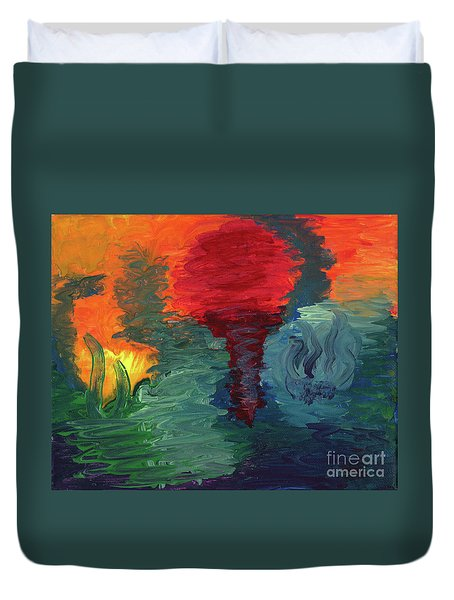 Duvet Cover featuring the painting Sunset I by Ania M Milo