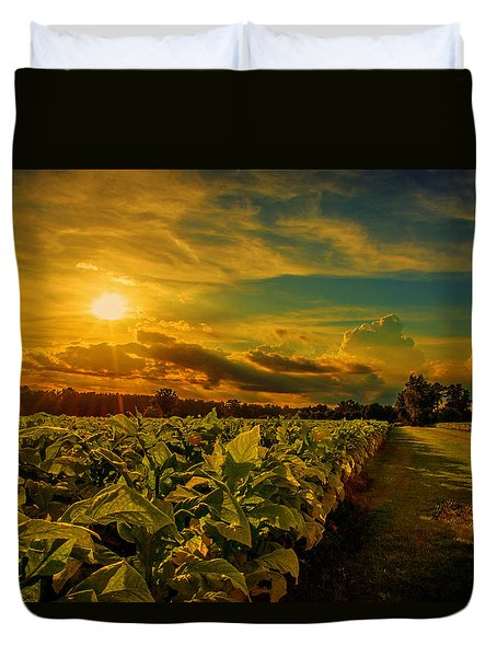 Sunset In A North Carolina Tobacco Field  Duvet Cover by John Harding