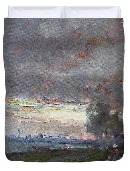 Sunset In A Rainy Day Duvet Cover