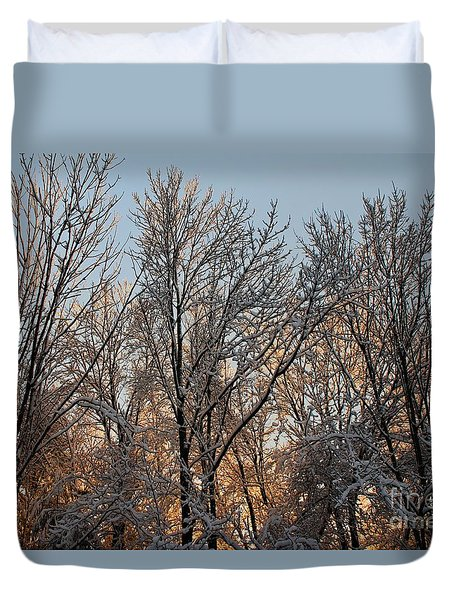Duvet Cover featuring the photograph Sunset In A Snow Covered Forest - 1 by Kenny Glotfelty