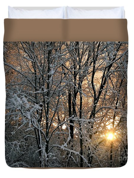 Duvet Cover featuring the photograph Sunset In A Snow Covered Forest - 2 by Kenny Glotfelty