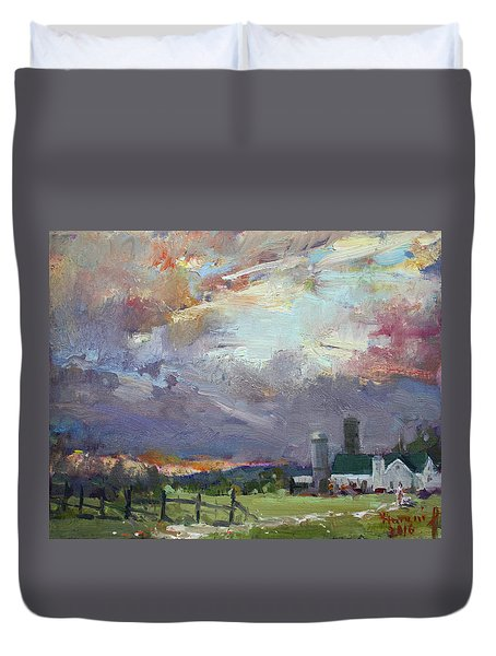 Sunset In A Troubled Weather Duvet Cover by Ylli Haruni
