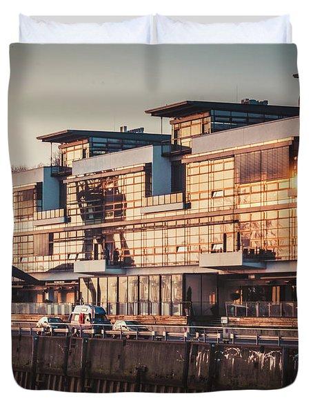 Sunset In Altona Hamburg Duvet Cover