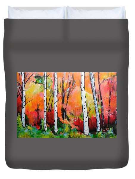 Sunset In An Aspen Grove Duvet Cover
