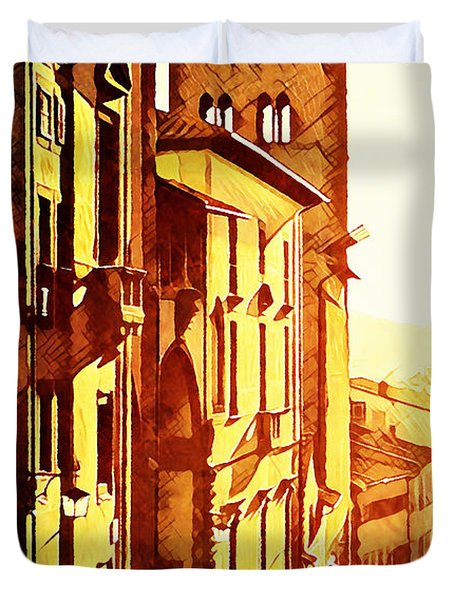 Sunset In Arezzo Duvet Cover by Andrea Barbieri
