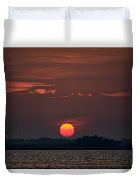 Sunset In Biloxi 2 Duvet Cover by Cathy Jourdan