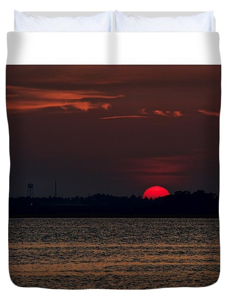 Sunset In Biloxi 3 Duvet Cover by Cathy Jourdan